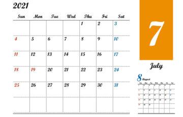 2021年7月 カレンダー